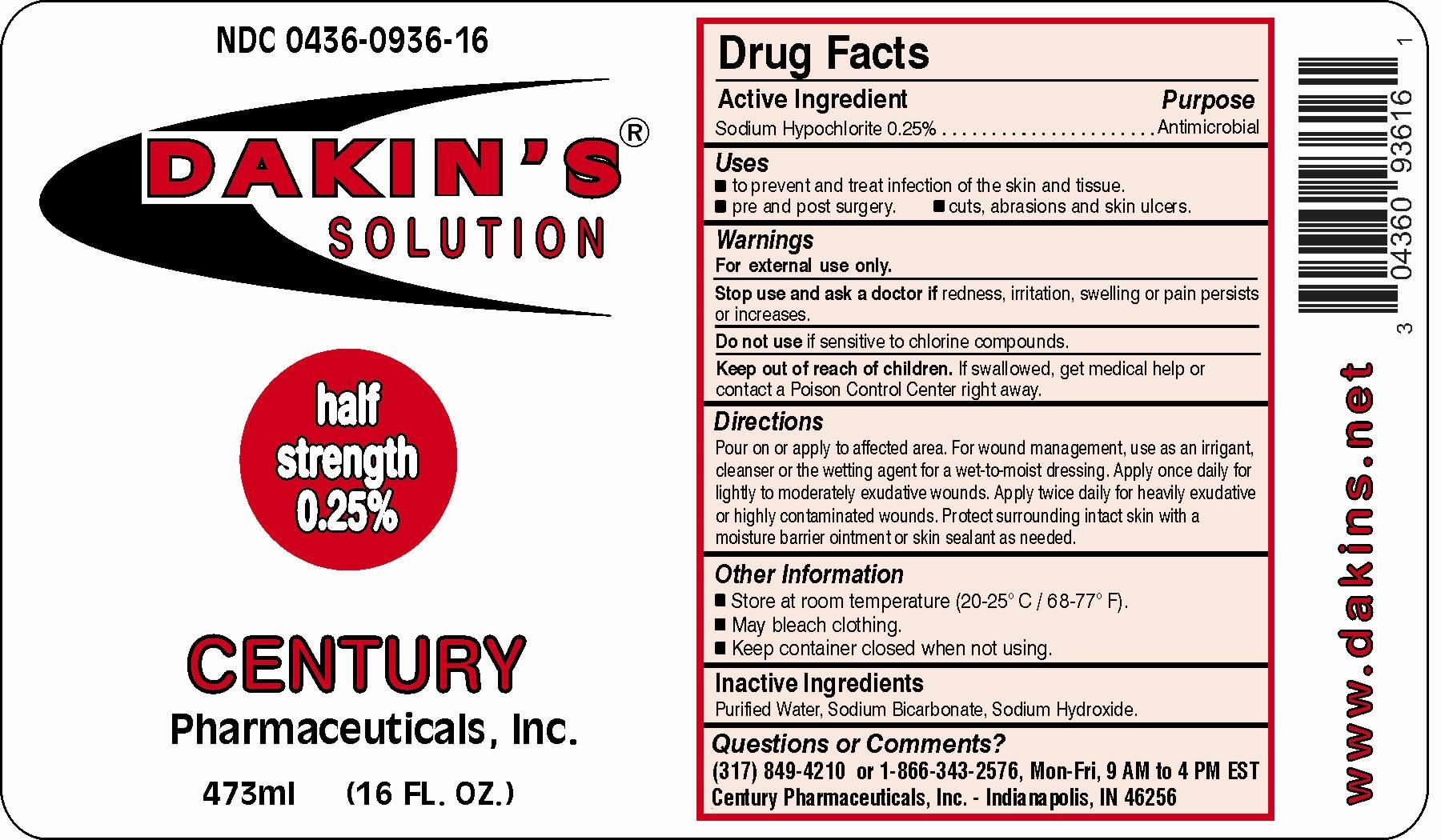 Dakins Half (Sodium Hypochlorite) Solution [Century Pharmaceuticals, Inc.]