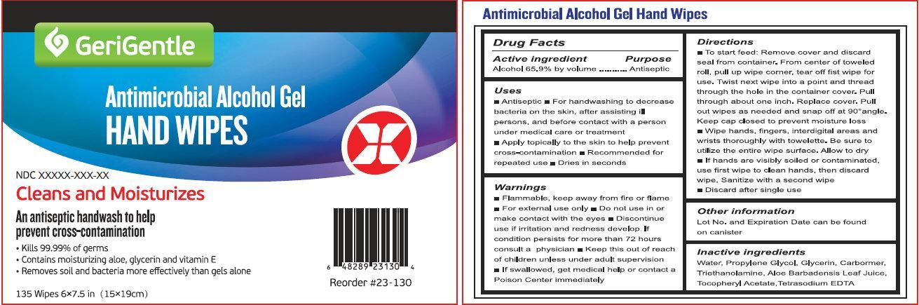 Antimicrobial Alcohol Hand Wipes (Alcohol) Liquid [Geri Gentile Corp]