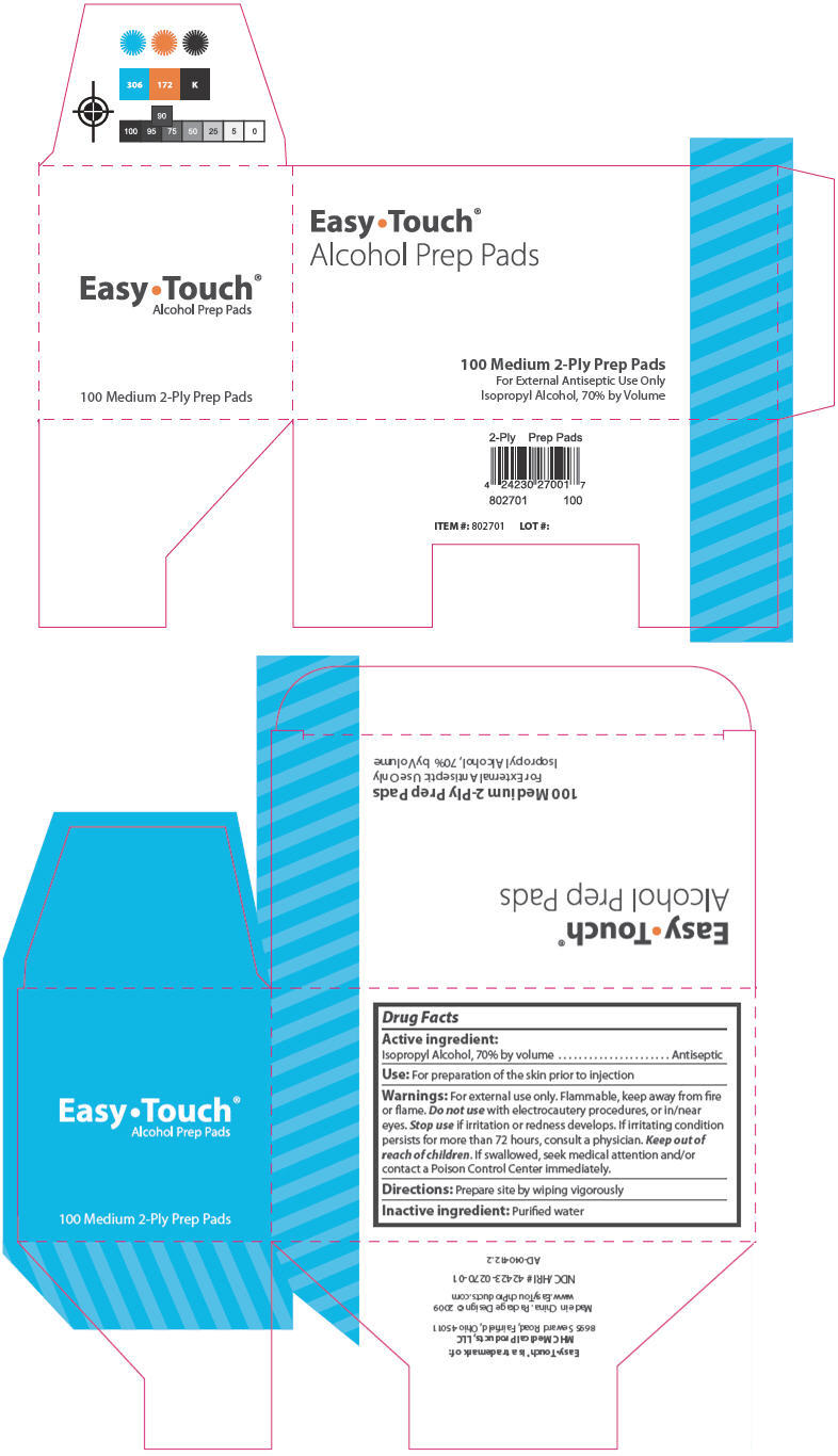 PRINCIPAL DISPLAY PANEL - 100 Medium 2-Ply Prep Pads Carton