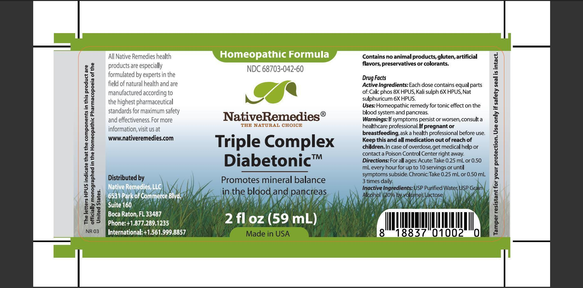 Triple Complex Diabetonic (Calc Phos, Kali Sulph, Nat Sulphuricum) Tincture [Native Remedies, Llc]