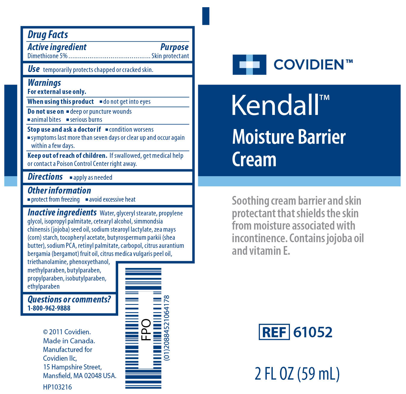 Image of Kendall Moisture Barrier Cream 2 Fl oz Label