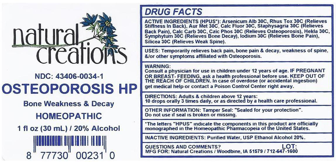Osteoporosis Hp (Arsenic Trioxide, Gold, Oyster Shell Calcium Carbonate, Crude, Calcium Fluoride, Hydrofluoric Acid, Hekla Lava, Toxicodendron Pubescens Leaf, Silicon Dioxide, Delphinium Staphisagria Seed, Comfrey Leaf) Liquid [Natural Creations, Inc.]