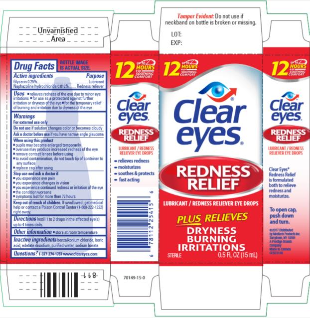 Clear Eyes Redness Relief (Naphazoline Hydrochloride And Glycerin) Liquid [Prestige Brands Holdings, Inc.]