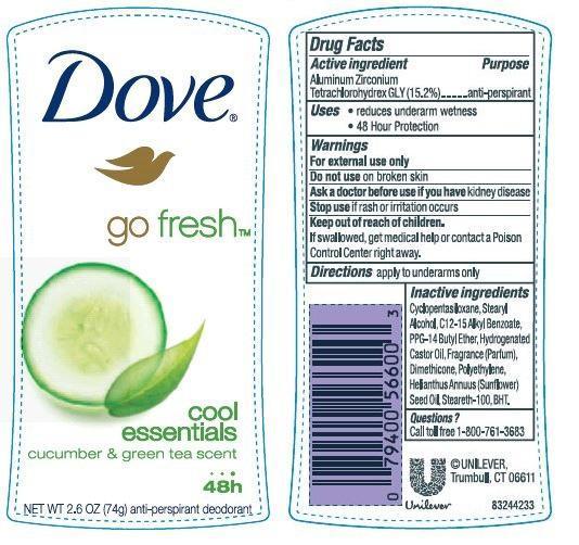 Dove Cool Essentials Antiperspirant And Deodorant (Aluminum Zirconium Tetrachlorohydrex Gly) Stick [Conopco Inc. D/b/a Unilever]
