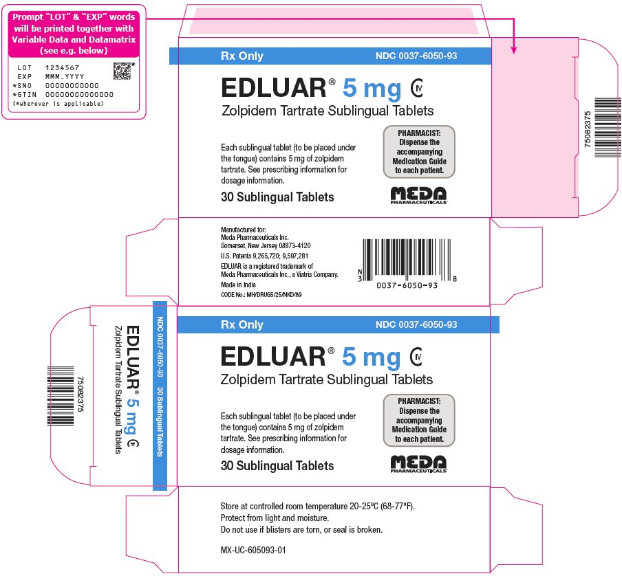 Edluar Sublingual Tablets 5 mg Carton Label