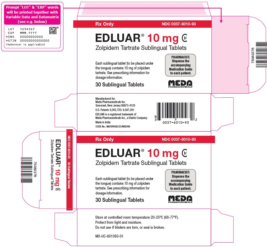 Edluar Sublingual Tablets 10 mg Carton Label