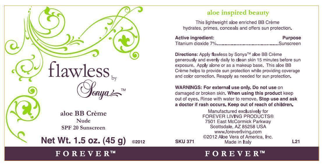 Flawless By Sonya Aloe Bb Creme Nude Spf 20 Sunscreen (Titanium Dioxide) Cream [Forever Living Products]