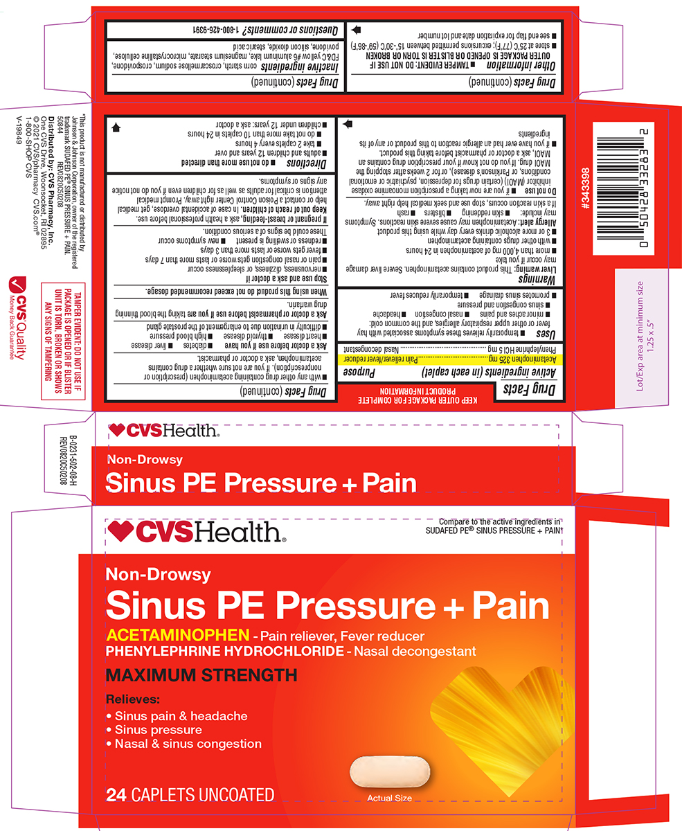 Sinus Pe Pressure Plus Pain Maximum Strength (Acetaminophen, Phenylephrine Hcl) Tablet [Woonsocket Prescription Center,incorporated]