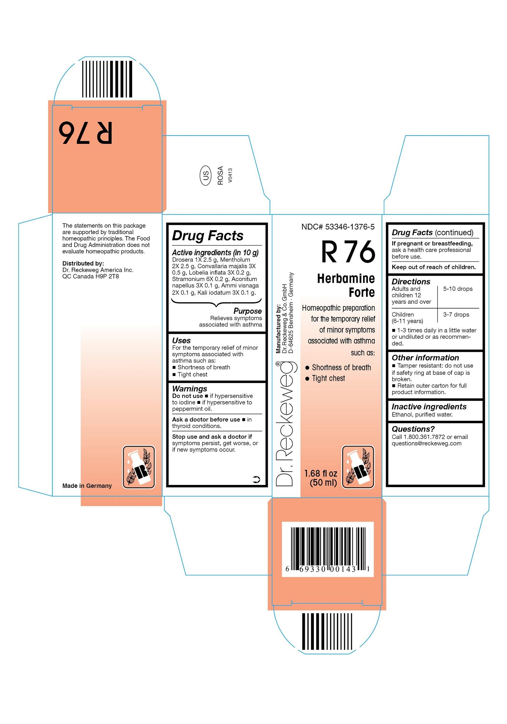 Dr. Reckeweg R76 Herbamine Forte Combination Product (Drosera 1x, Mentholum 2x, Convallaria Majalis 3x, Lobelia Inflata 3x, Stramonium 6x, Aconitum Napellus 3x, Ammi Visnaga 2x, Kali Iodatum 3x) Liquid [Pharmazeutische Fabrik Dr. Reckeweg & Co]