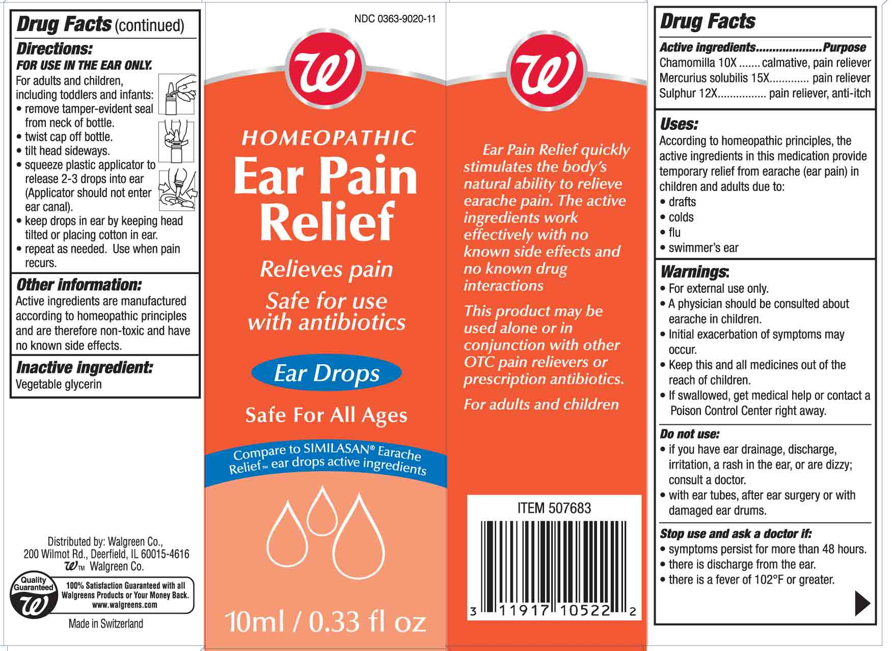 Homeopathic Ear Pain Relief (Chamomilla And Mercurius Solubilis And Sulphur) Solution [Walgreen Co]