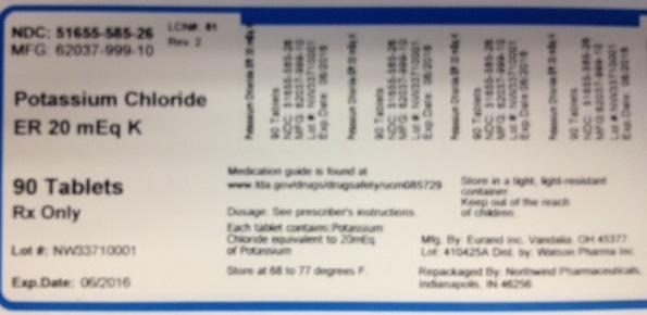 Potassium Chloride Er (Potassium Chloride) Tablet [Northwind Pharmaceuticals, Llc]