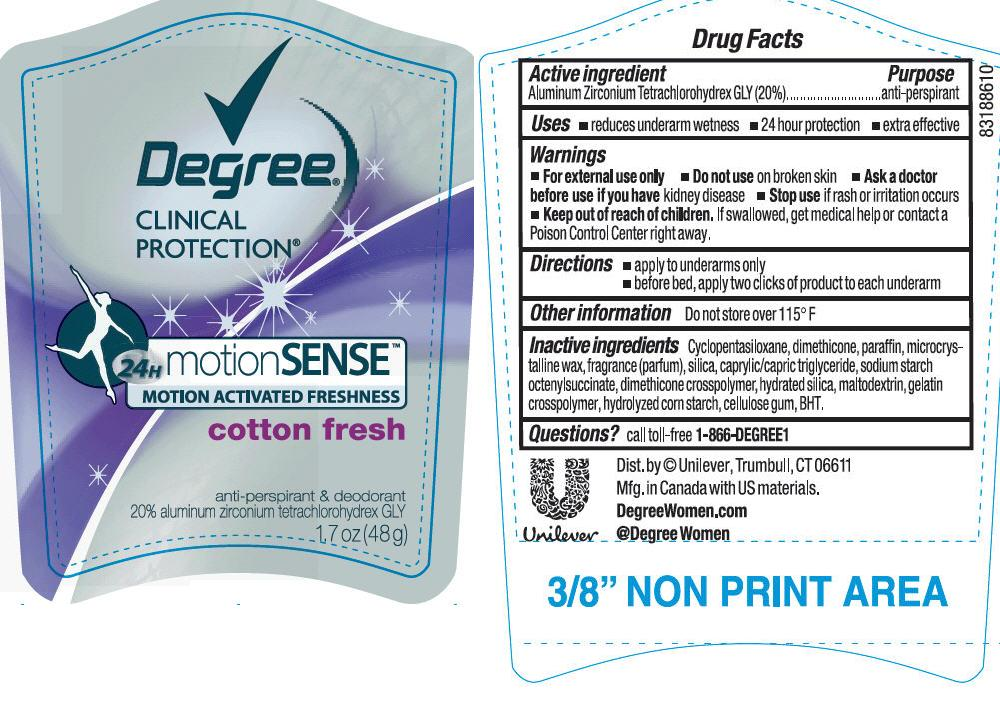 Degree Clinical Protection Motion Sense Cotton Fresh Antiperspirant And Deodorant (Aluminum Zirconium Tetrachlorohydrex Gly) Stick [Conopco Inc. D/b/a Unilever]