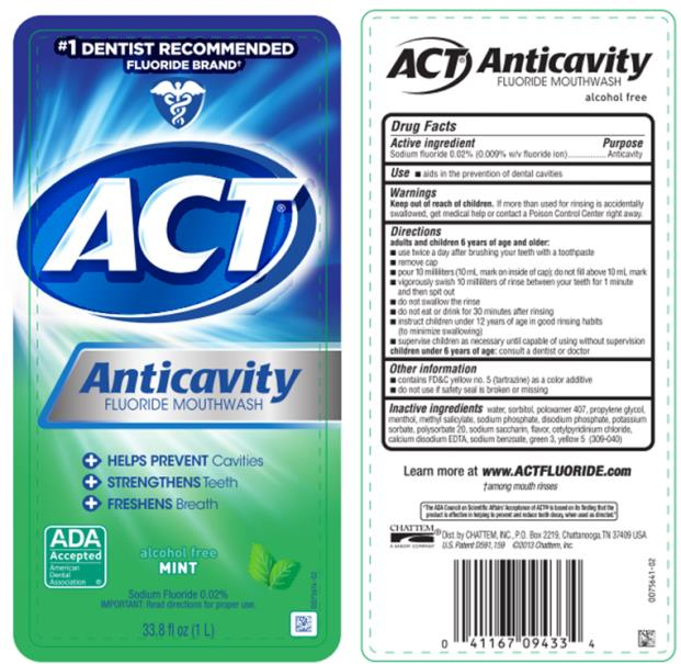 #1 DENTIST RECOMMENDED FLUORIDE BRAND ACT Anticavity Fluoride Mouthwash alcohol free MINT 33.8 fl oz (1 L)