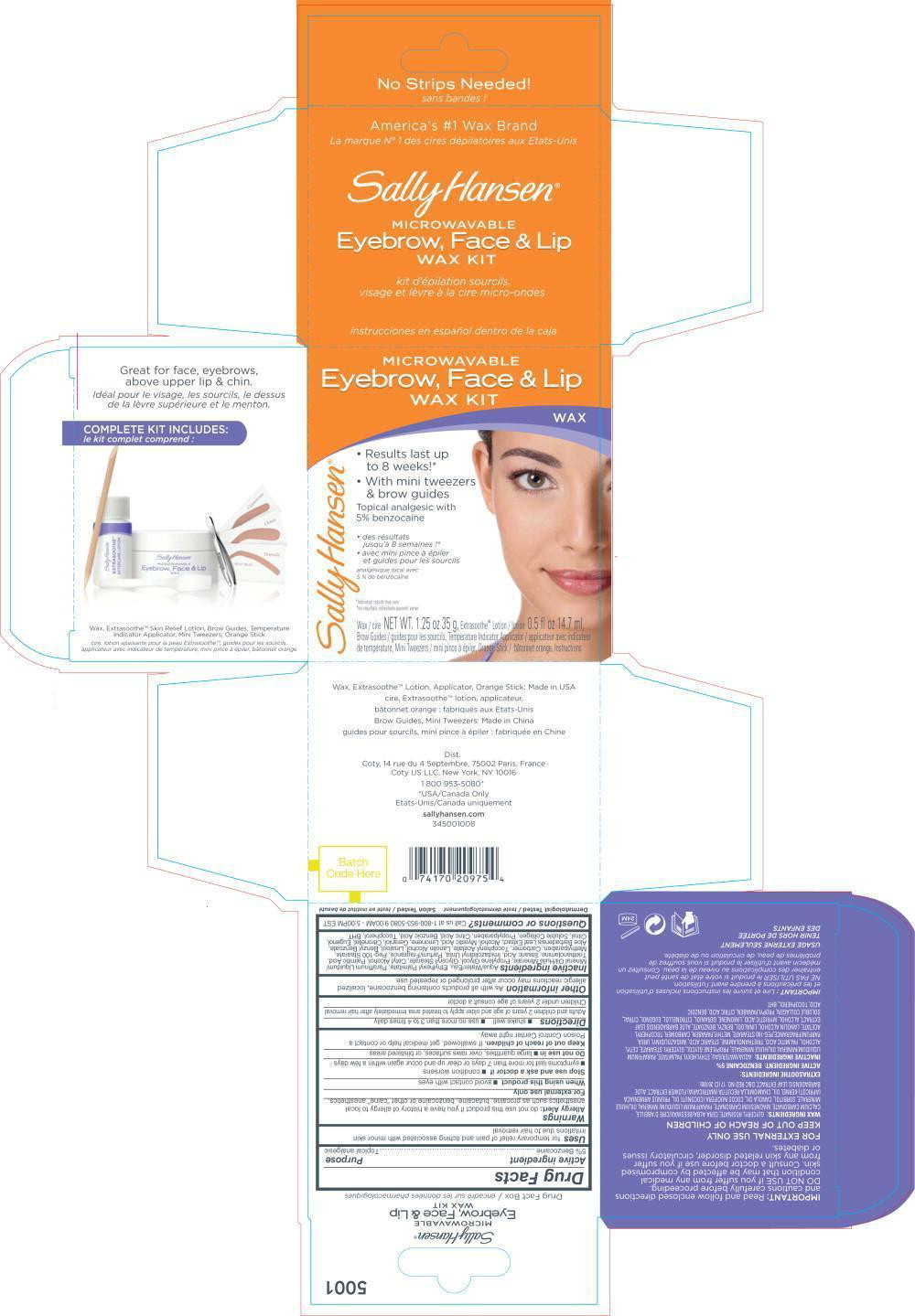 Sally Hansen Microwavable Eybrow, Face And Lip Wax Kit (Benzocaine) Kit [Coty Us Llc]