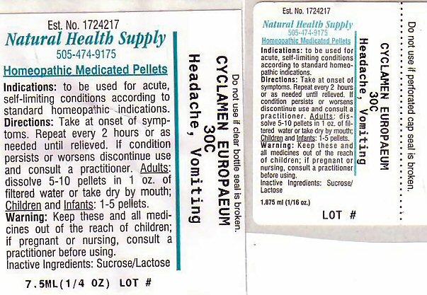 Headache Vomiting (Cyclamen Purpurascens Tuber) Pellet [Natural Health Supply]