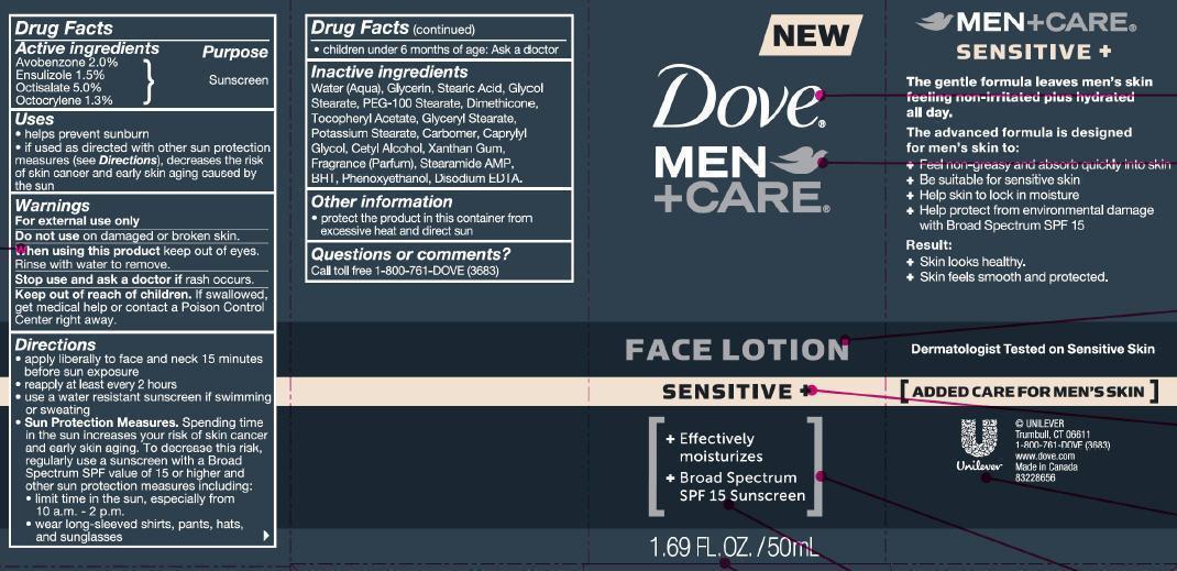 Dove Men Plus Care Sensitive Face (Avobenzone, Ensulizole, Octicsalate, Octocrylene) Lotion [Conopco Inc. D/b/a Unilever]