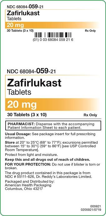 20 mg Zafirlukast Tablets Carton