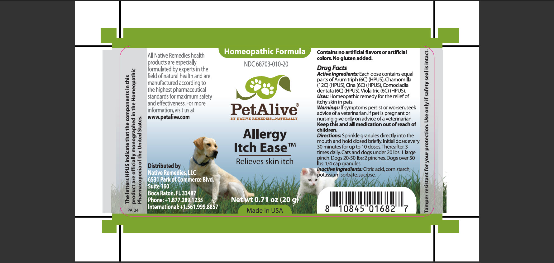 Petalive Allergy Itch Ease (Arum Triph, Chamomilla, Cina, Comocladia Dentata, Viola Tric) Granule [Native Remedies, Llc]