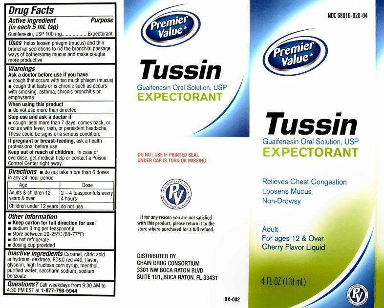 Tussin Expectorant (Guaifenesin) Liquid [Chain Drug Consortium, Llc]