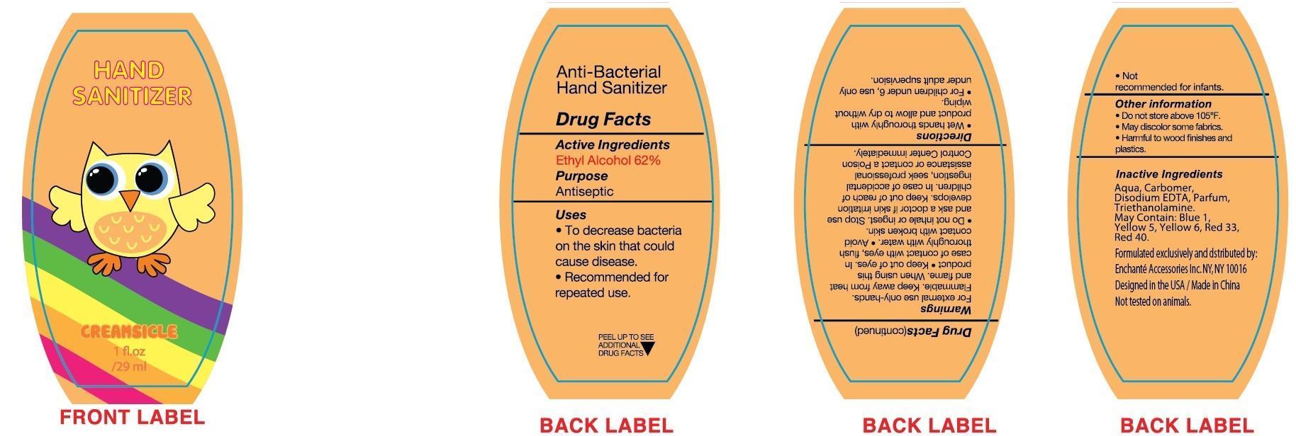 Creamsicle Hand Sanitizer (Alcohol) Liquid [Enchante Accessories Inc. ]