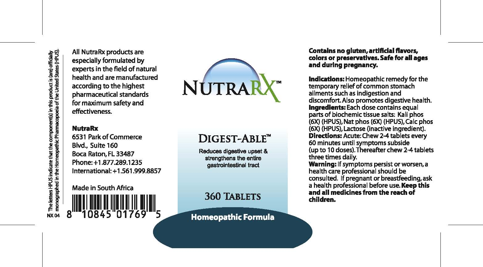 Nutrarx Digest-able (Kali Phos, Nat Phos, Calc Phos ) Tablet [Feelgood Health]