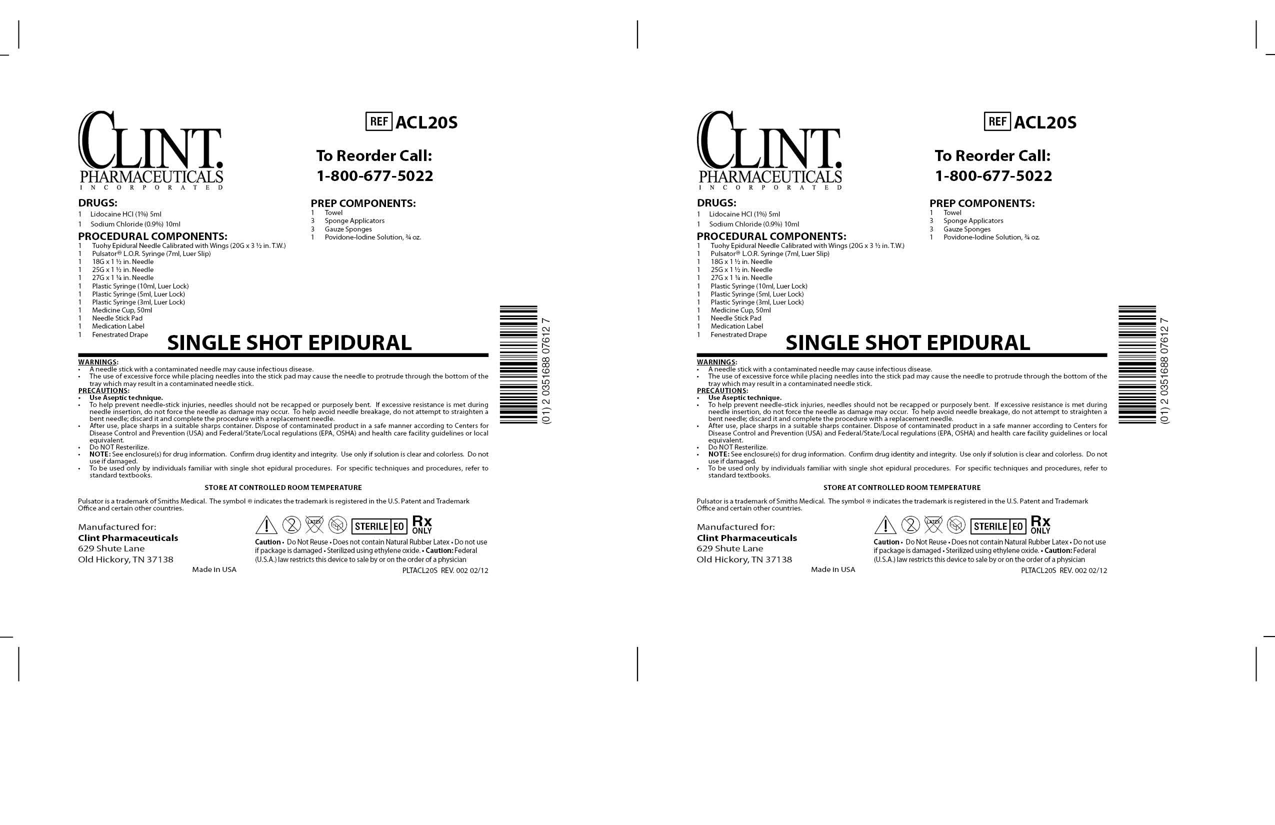 Acl20s Single Shot Epidural () Kit [Clint Pharmaceuticals, Inc.]