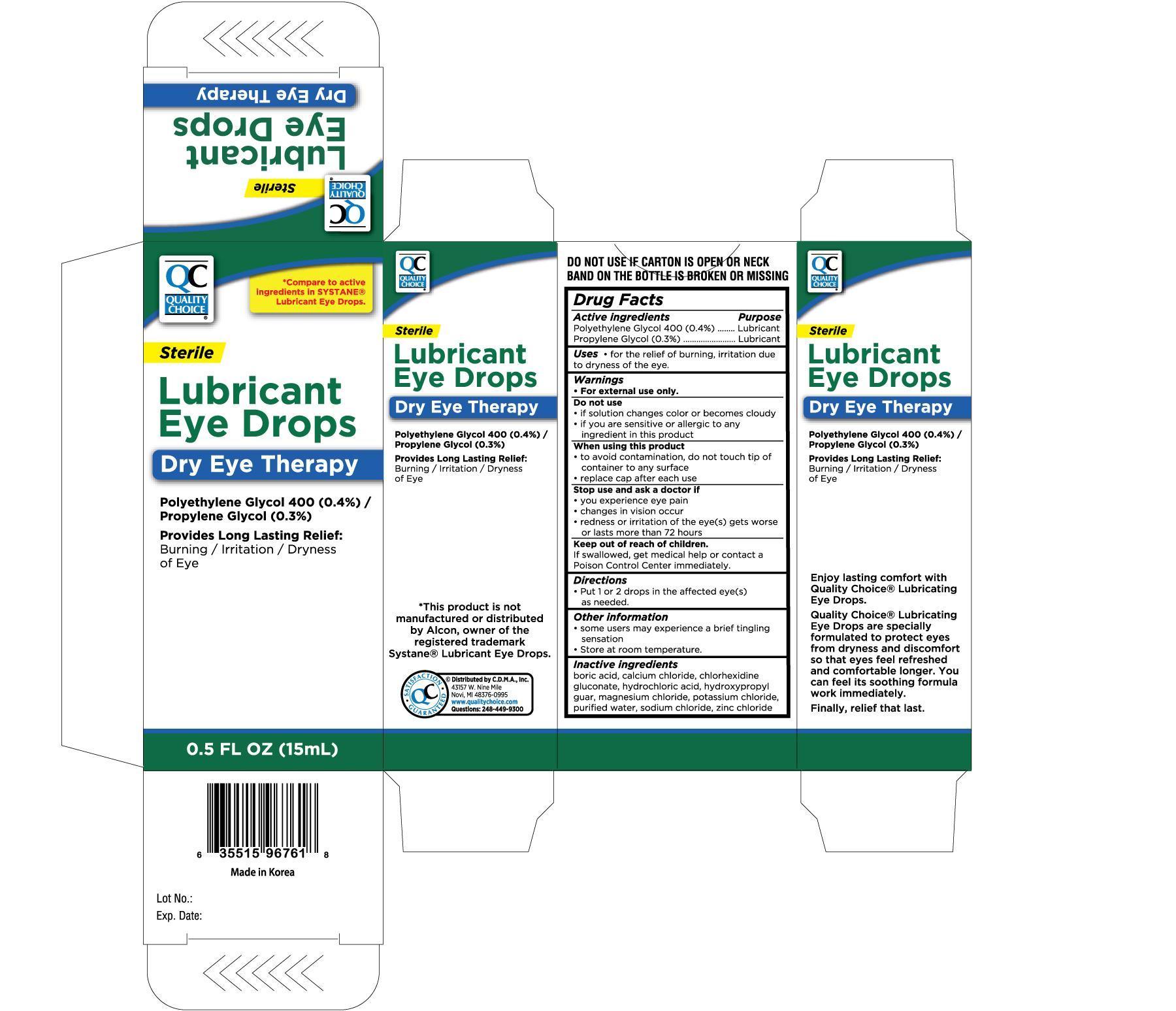 Quality Choice Lubricant Eye (Polyethylene Glycol 400, Propylene Glycol) Solution/ Drops [Chain Drug Marketing Association Inc]