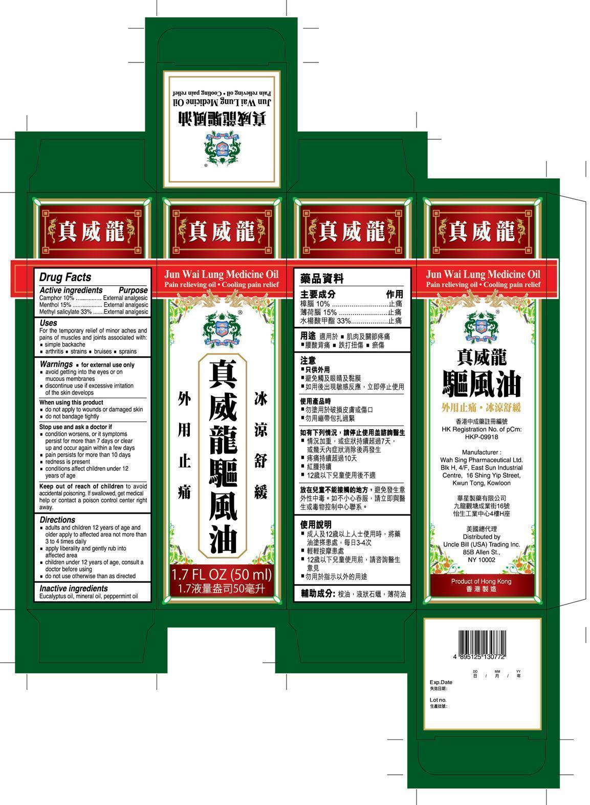 Jun Wai Lung Medicine Pain Relieving (Camphor Menthol Methyl Salicylate) Oil [Wah Sing Pharmaceutical Limited]