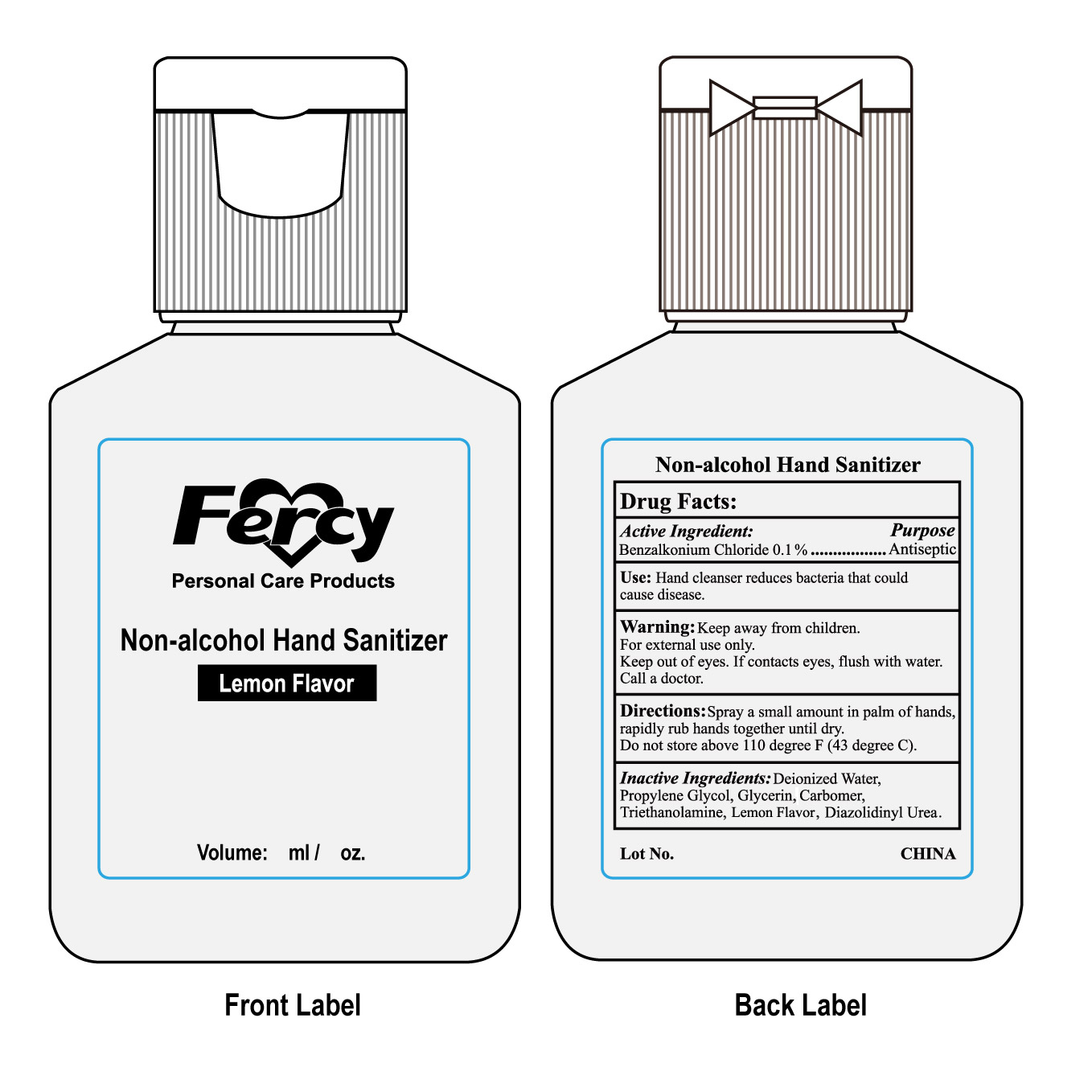 Non Alcohol Hand Sanitizer (Benzalkonium Chloride) Gel [Fercy Personal Care Products Co Limited]