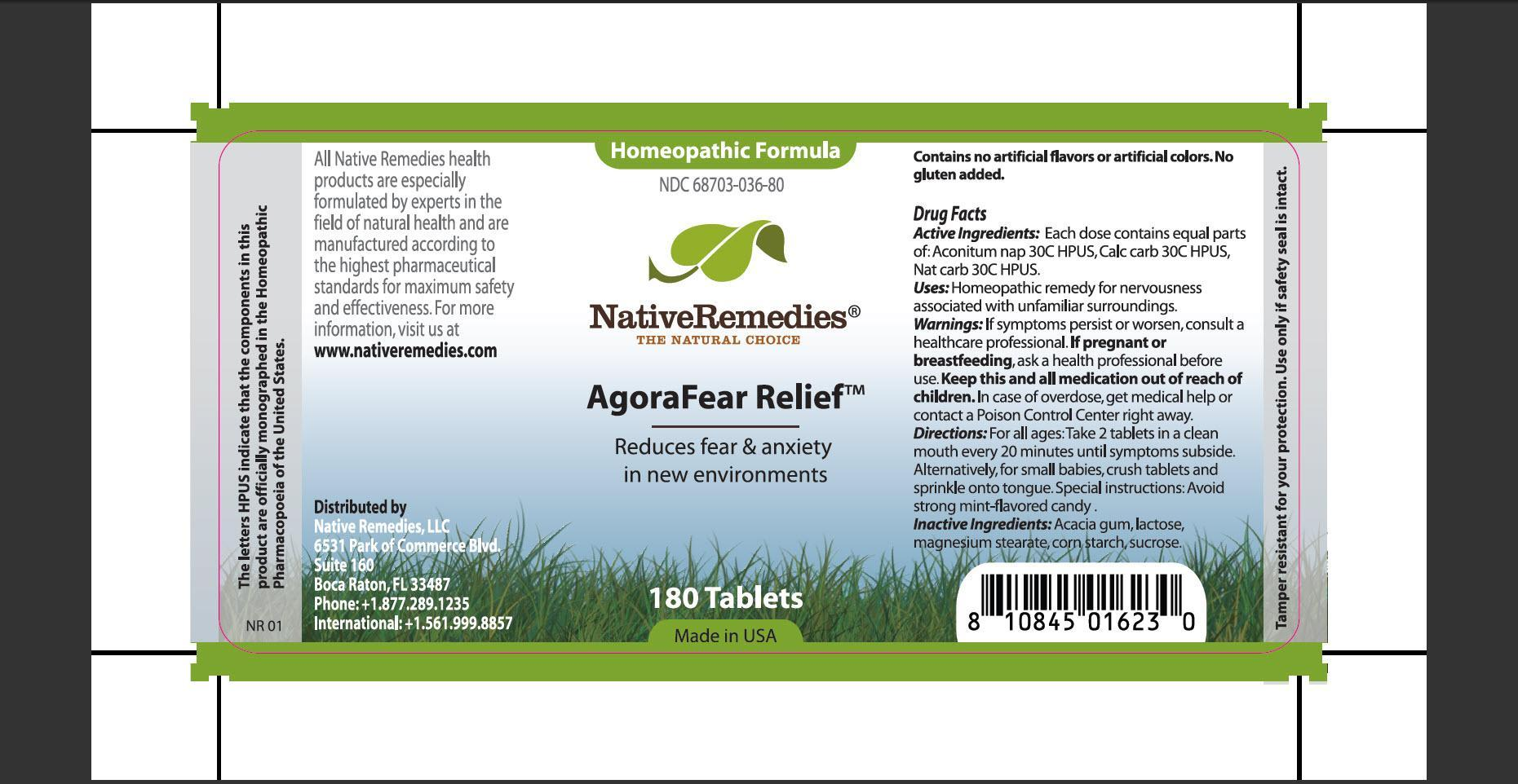 Agorafear Relief (Aconitum Nap, Calc Carb, Nat Carb) Tablet [Native Remedies, Llc]