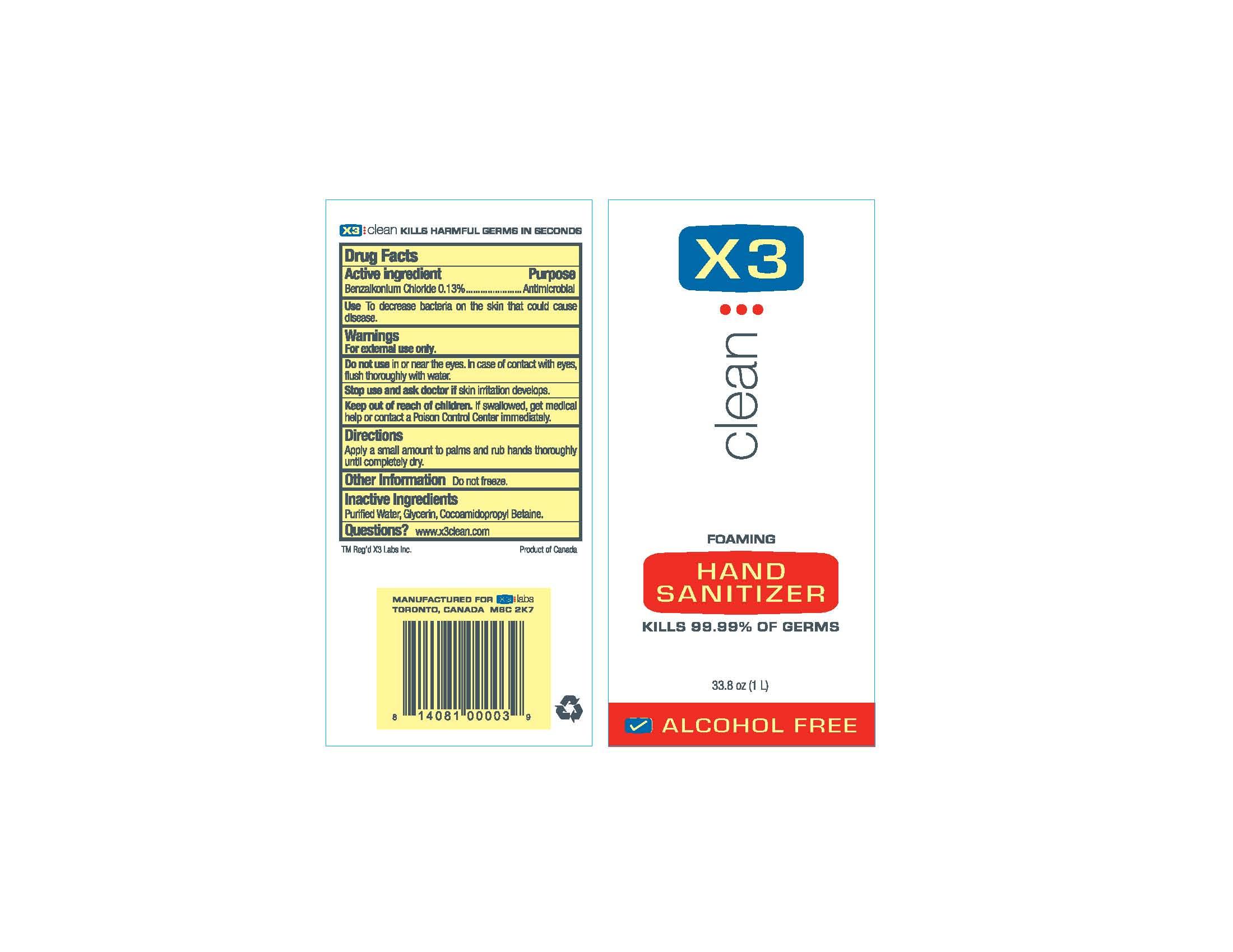 X3 Clean (Hand Sanitizer Foam) Aerosol, Foam [X3 Labs Inc.]