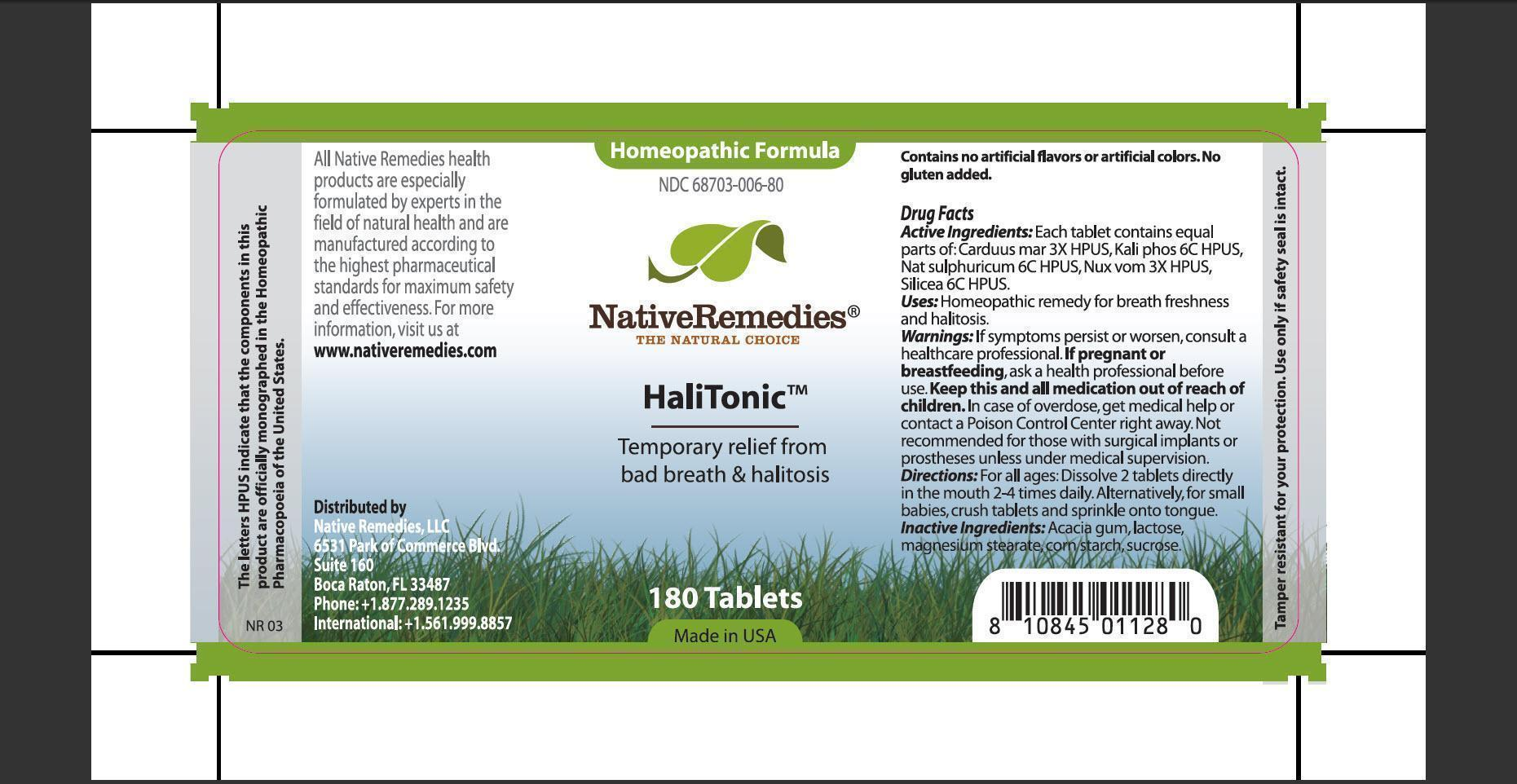 Halitonic (Carduus Mar, Kali Phos, Nat Sulphuricum, Nux Vom, Silicea, Acacia Gum, Lactose, Magnesium Stearate, Corn Starch, Sucrose.) Tablet [Native Remedies Llc]