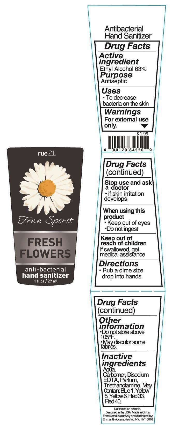 Rue 21 Free Spirit Fresh Flowers Anti Bacterial Hand Sanitizer (Alcohol) Liquid [Enchante Accessories Inc. ]