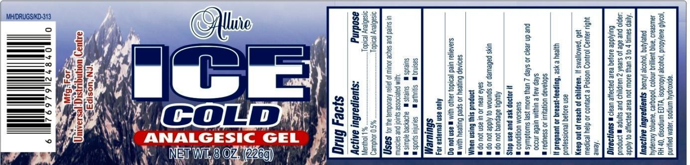 Allure Ice Cold Analgesic (Menthol And Camphor) Gel [Universal Distribution Center Llc]