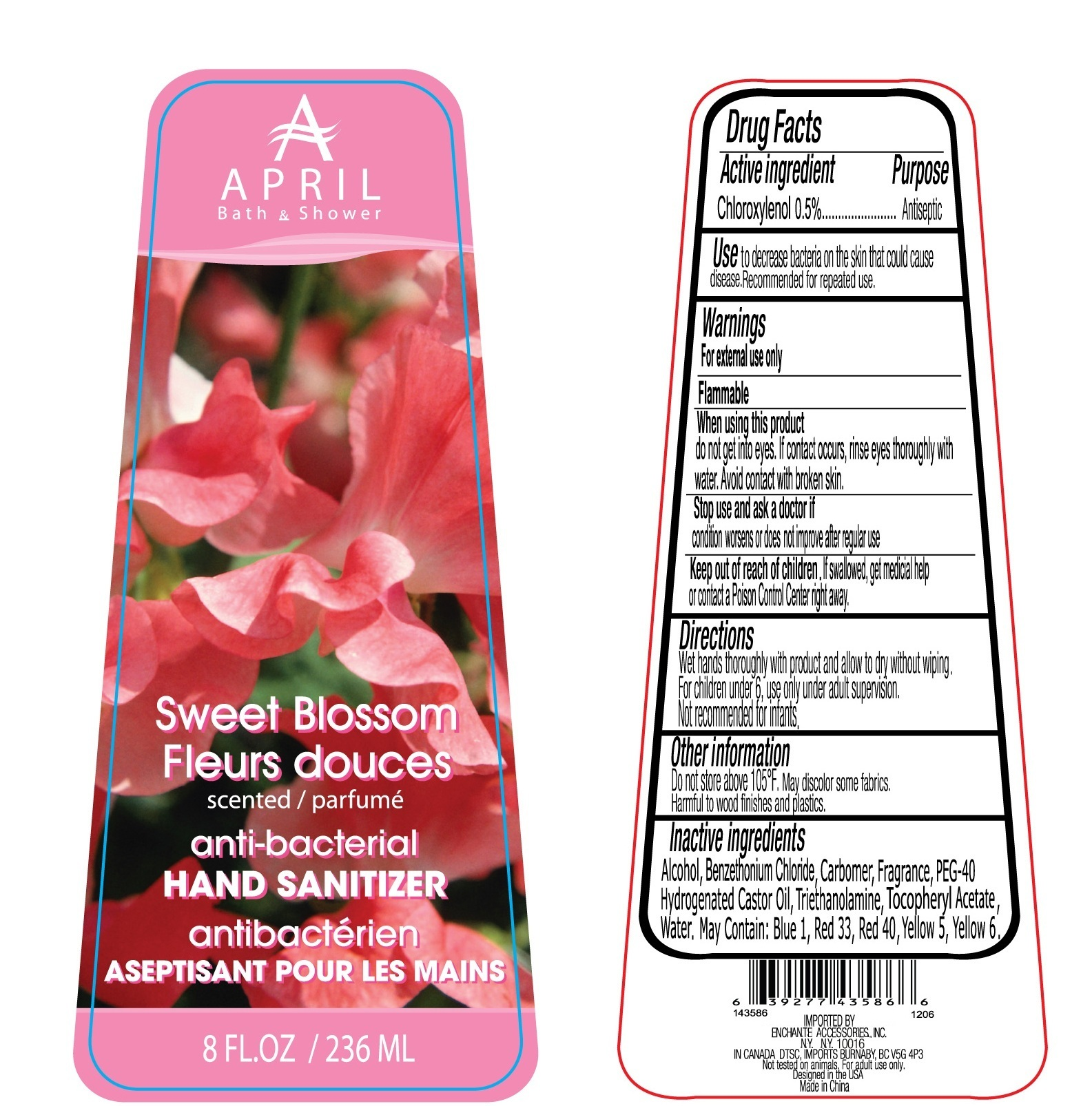 April Bath And Shower Sweet Blossom Scented Hand Sanitizer Anti-bacterial (Chloroxylenol) Liquid [Enchante Accessories Inc. ]