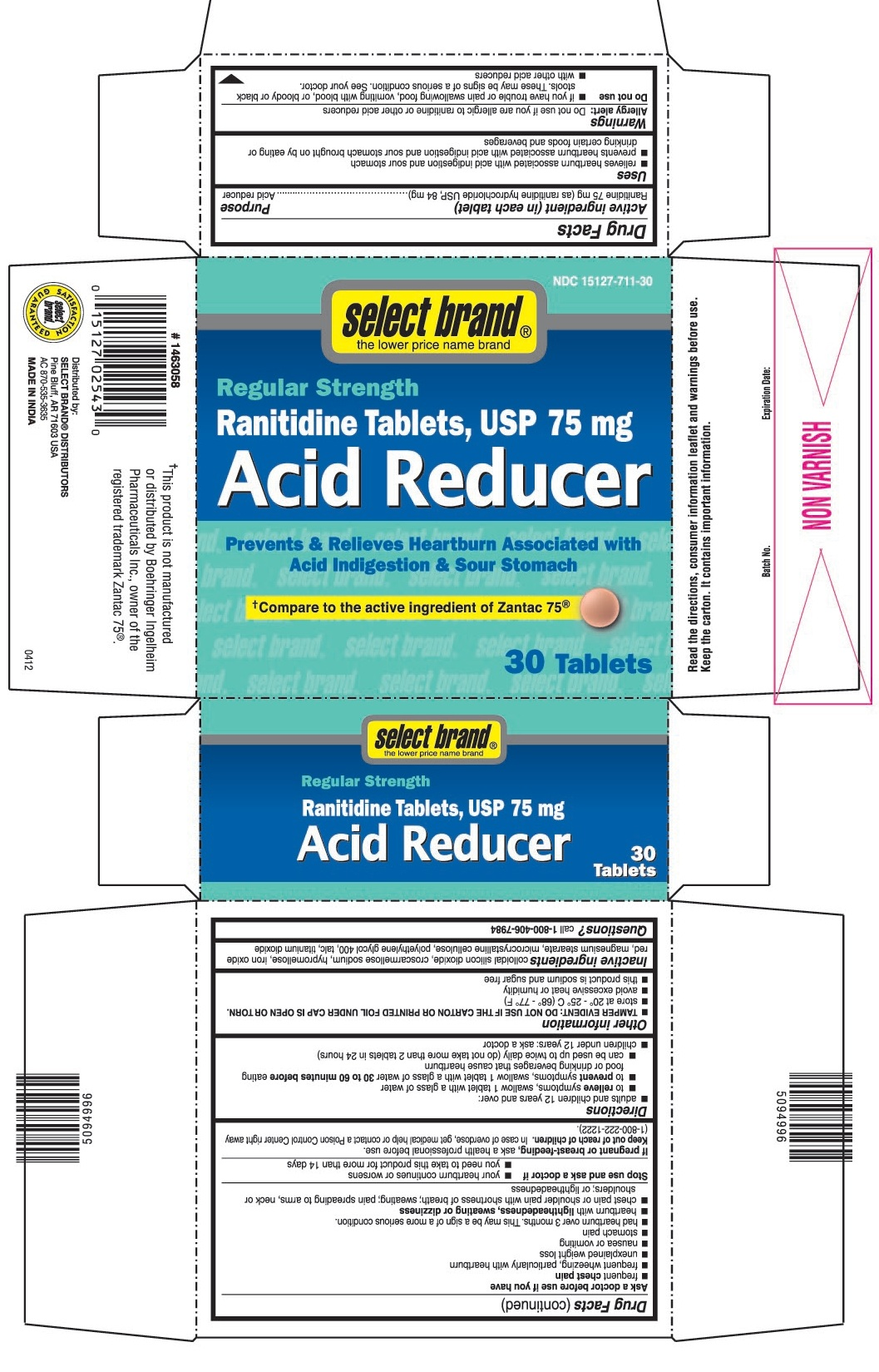 This is the 30 count bottle carton label for Select Brand Ranitidine tablets, USP 75 mg.