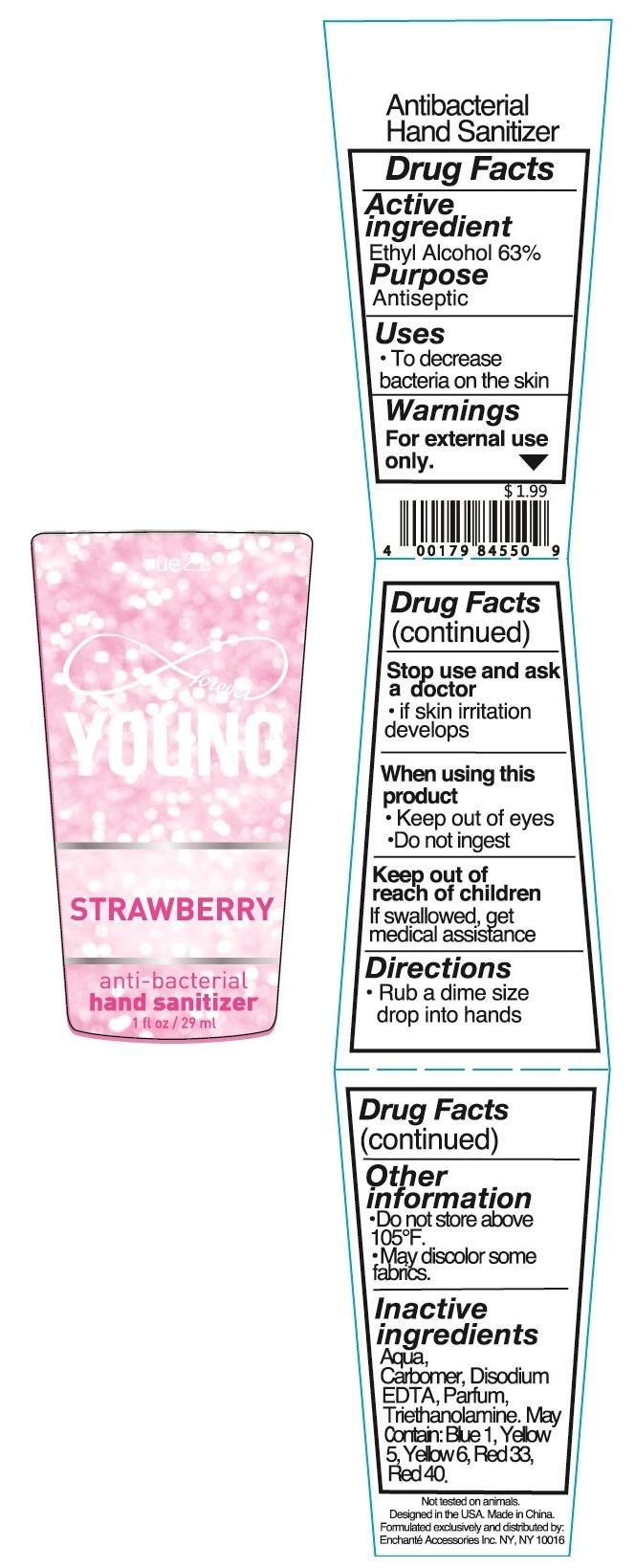 Rue 21 Young Strawberry Anti Bacterial Hand Sanitizer (Alcohol) Liquid [Enchante Accessories Inc. ]
