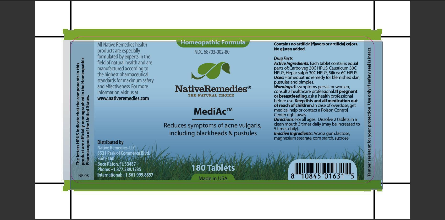 Mediac (Carbo Veg , Causticum, Hepar Sulph, Silicea , Acacia Gum, Lactose, Magnesium Stearate, Corn Starch, Sucrose) Tablet [Native Remedies Llc]