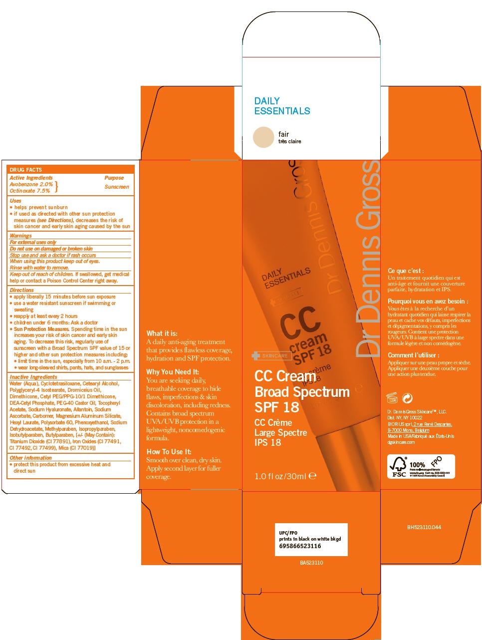 Cc Spf 18 Fair (Avobenzone, Octinoxate) Cream Cc Spf 18 Light To Medium (Avobenzone, Octinoxate) Cream Cc Spf 18 Medium (Avobenzone, Octinoxate) Cream Cc Spf 18 Medium To Dark (Avobenzone, Octinoxate) Cream [Dr. Dennis Gross Skincare, Llc]