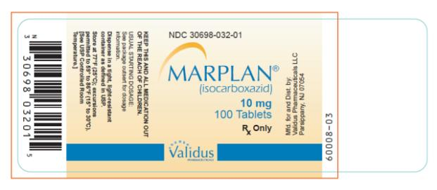 NDC 30698-032-01 MARPLAN®  (isocarboxazid) 10 mg 100 Tablets Rx Only