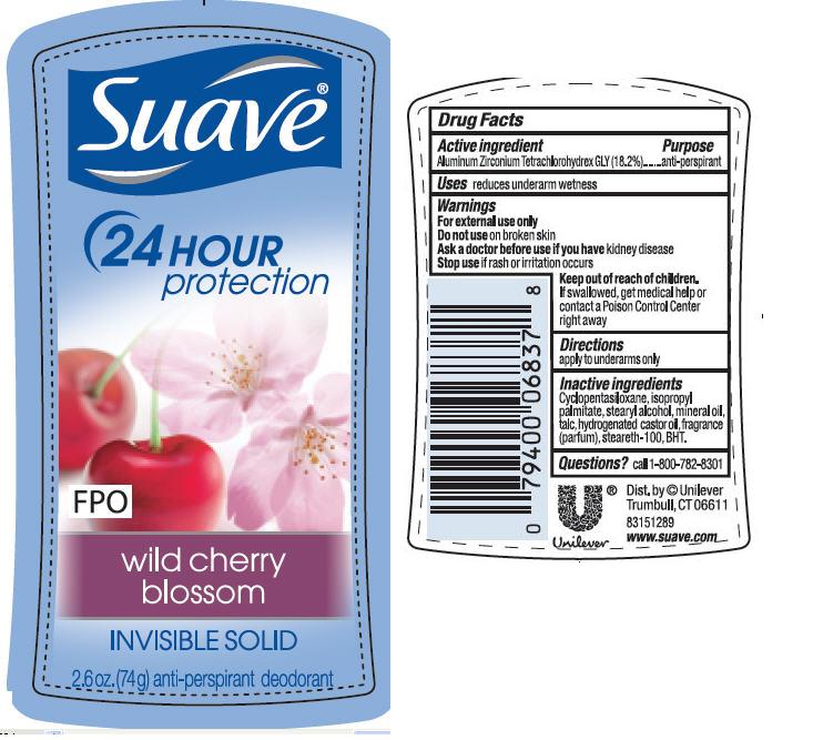 Suave Is Wild Cherry Blossom Antiperspirant And Deodorant (Aluminum Zirconium Tetrachlorohydrex Gly) Stick [Conopco Inc. D/b/a Unilever]