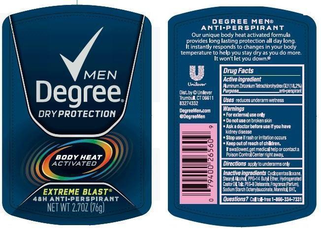 Degree Extreme Blast Antiperspirant And Deodorant (Aluminum Zirconium Tetrachlorohydrex Gly) Stick [Conopco Inc. D/b/a Unilever]