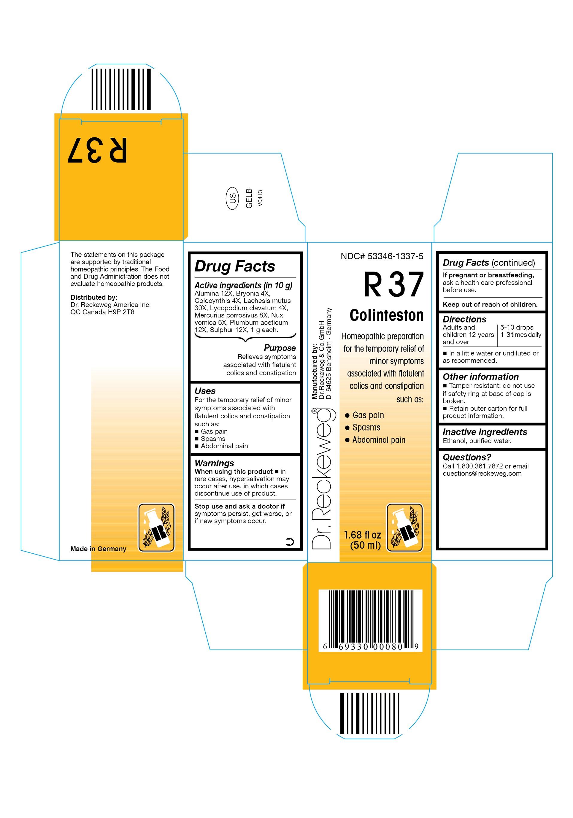 Dr. Reckeweg R37 Colinteston Combination Product (Alumina 12x, Bryonia 4x, Colocynthis 4x, Lachesis Mutus 30x, Lycopodium Clavatum 4x, Mercurius Corrosivus 8x, Nux Vomica 6x, Plumbum Aceticum 12x, Sulphur 12x) Liquid [Pharmazeutische Fabrik Dr. Reckeweg & Co]