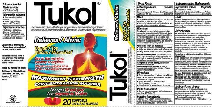 Tukol Maxium Strength Cough And Mucus Relief (Dextromethorphan Hydrobromide, Guaifenesin) Capsule, Gelatin Coated [Genomma Lab Usa, Inc]