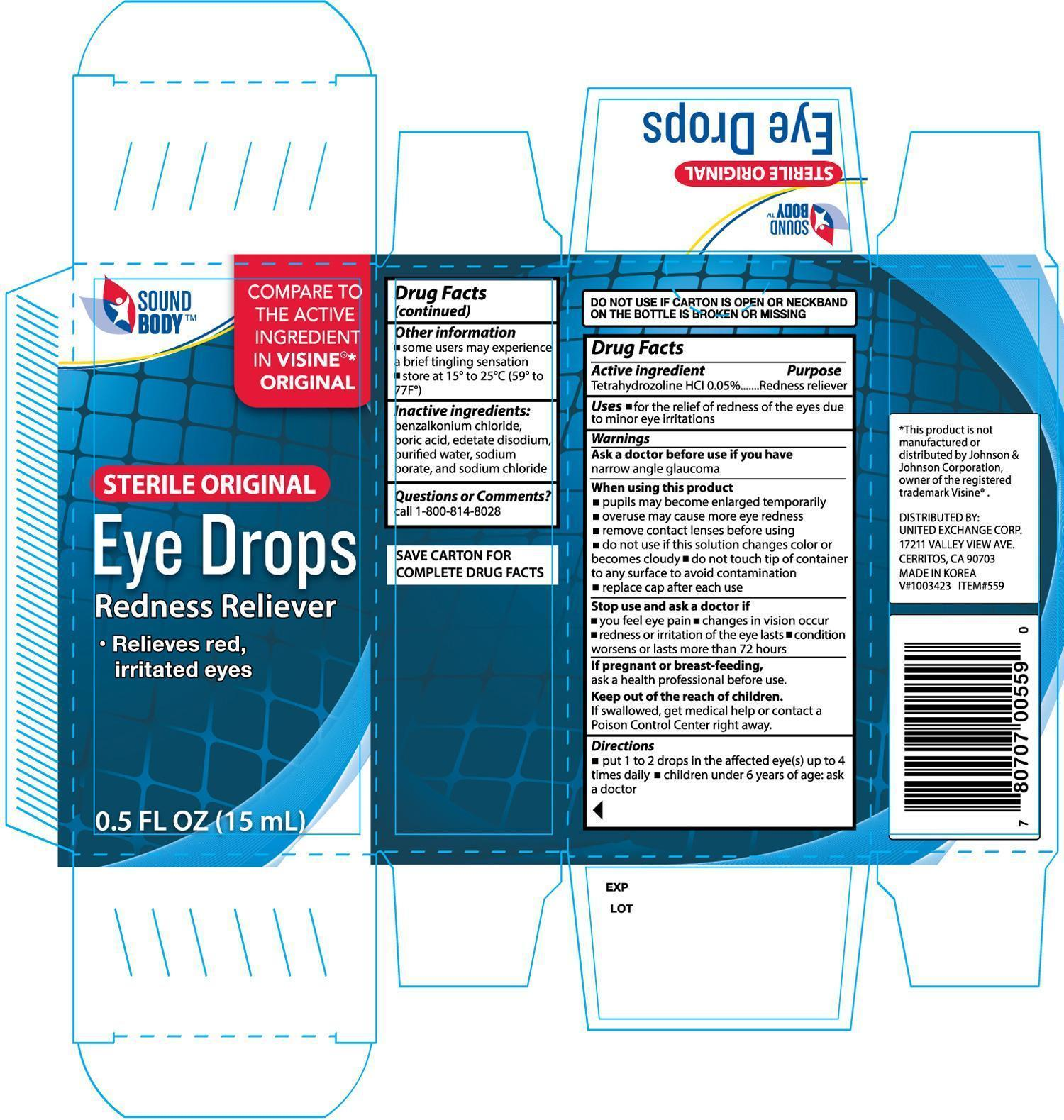 Sound Body Original Eye (Tetrahydrozoline Hydrochloride) Solution/ Drops [United Exchange Corp]