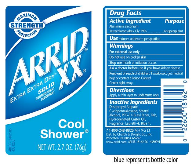 Arrid Xx Extra Extra Dry Antiperspirant Deodorant Cool Shower (Aluminum Zirconium Tetrachlorohydrex Gly 19%) Stick [Church & Dwight Co., Inc.]