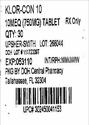 PRINCIPAL DISPLAY PANEL - 10mEq (750 mg) Label