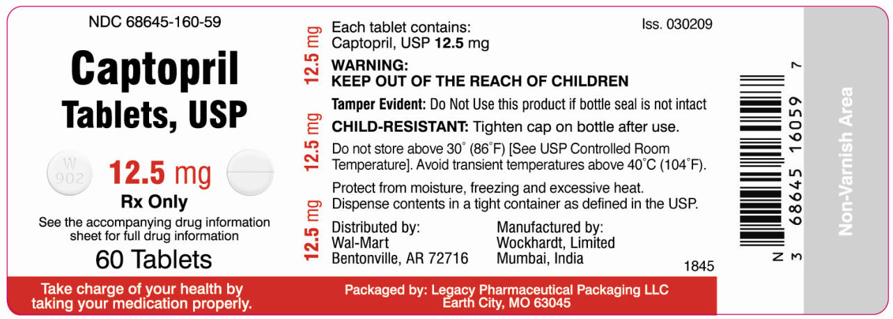 NDC 68645-160-59  Captopril  Tablets, USP  12.5mg  Rx Only  60 Tablets