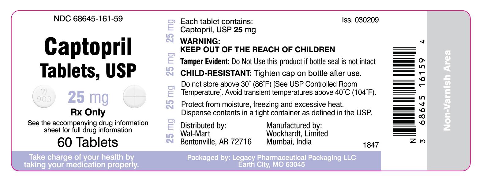 NDC 68645-161-59 Captopril Tablets, USP 25mg Rx Only 60 Tablets