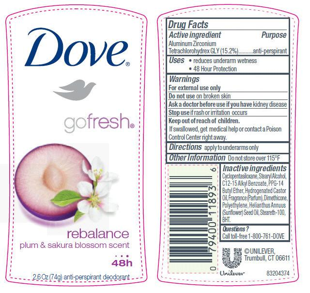 Dove Go Fresh Rebalance Antiperspirant And Deodorant (Aluminum Zirconium Tetrachlorohydrex Gly) Stick [Conopco Inc. D/b/a Unilever]